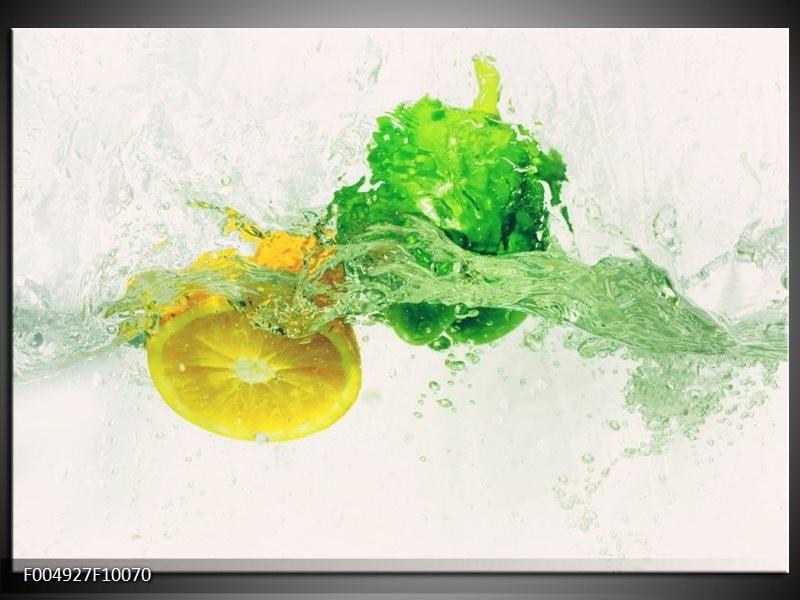 Glas schilderij Keuken | Groen, Geel, Wit