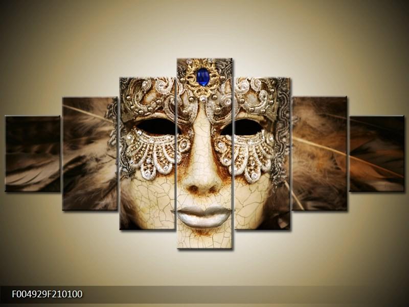 Canvas schilderij Masker   Bruin, Wit, Zwart   210x100cm 7Luik