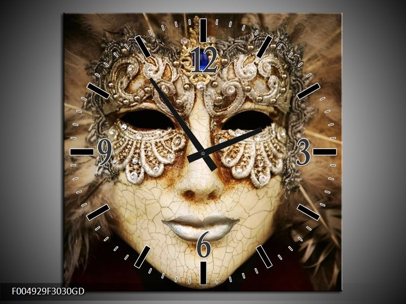 Wandklok op Glas Masker | Kleur: Bruin, Wit, Zwart | F004929CGD