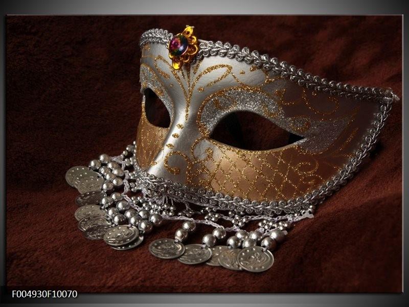 Glas schilderij Masker | Bruin, Wit, Zwart