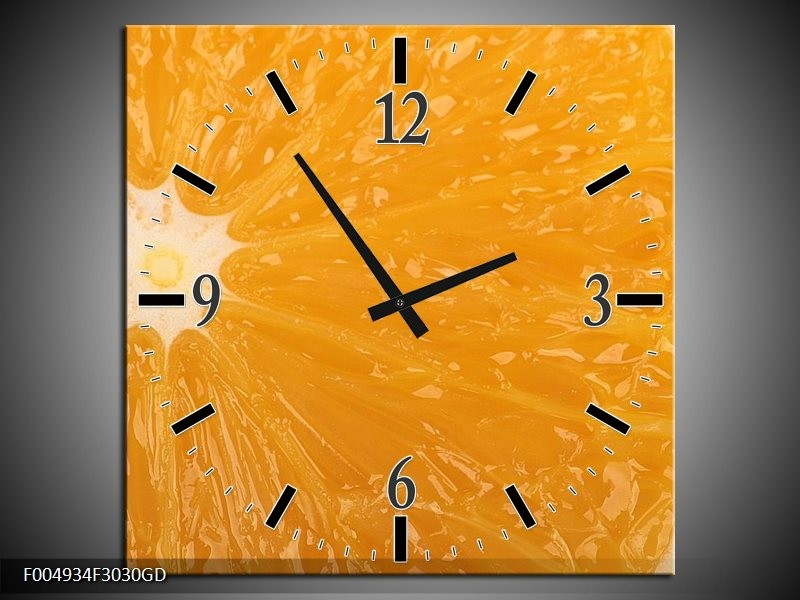 Wandklok op Glas Keuken   Kleur: Geel, Oranje, Bruin   F004934CGD