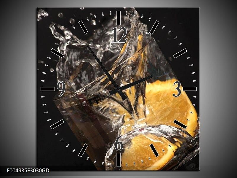 Wandklok op Glas Keuken | Kleur: Geel, Wit, Zwart | F004935CGD