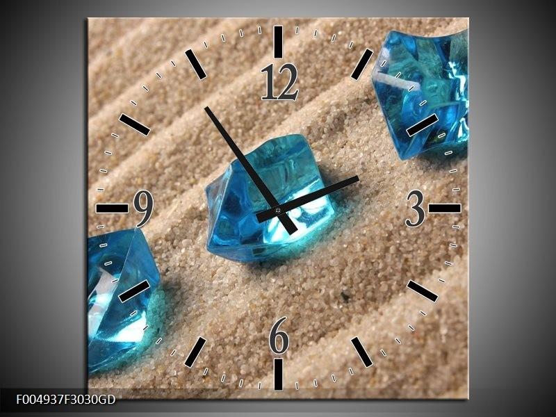 Wandklok op Glas Spa   Kleur: Blauw, Bruin   F004937CGD