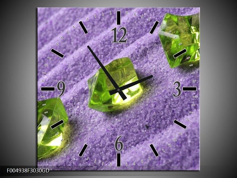 Wandklok op Glas Spa | Kleur: Groen, Paars | F004938CGD