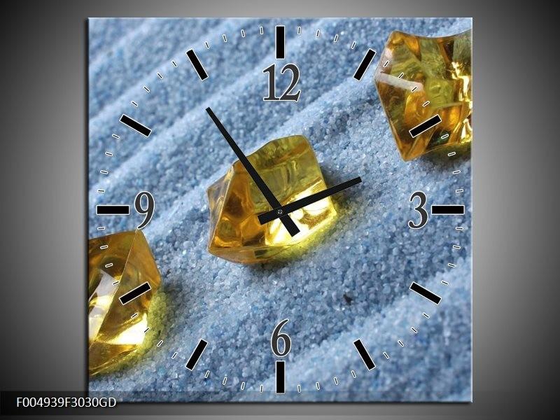 Wandklok op Glas Spa | Kleur: Geel, Blauw | F004939CGD