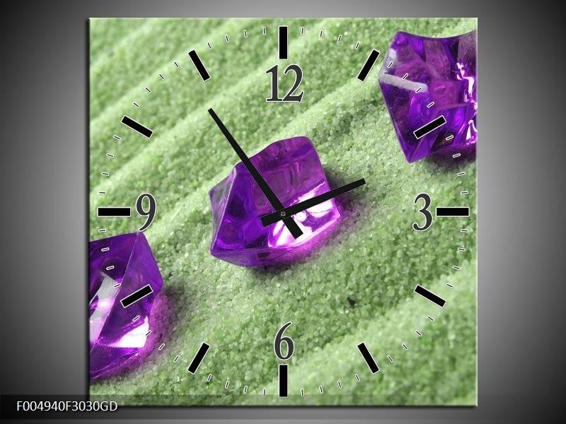 Wandklok op Glas Spa | Kleur: Paars, Groen | F004940CGD