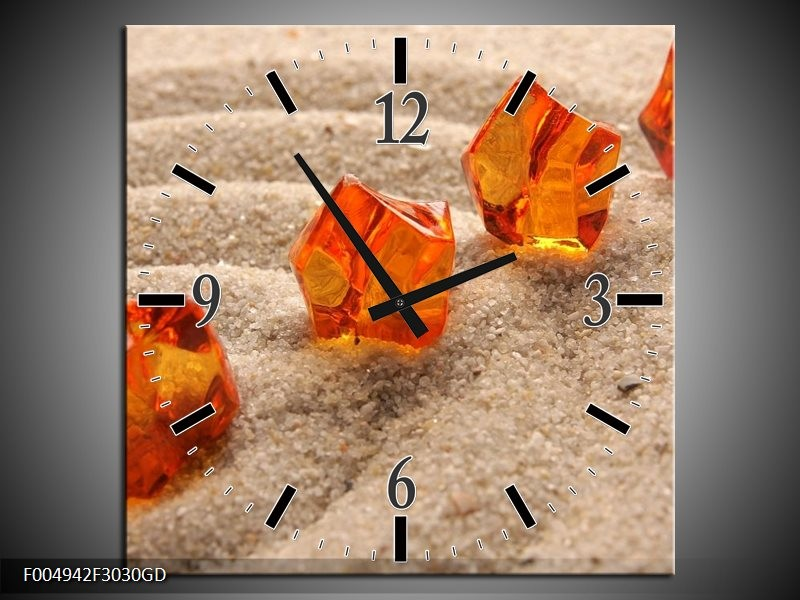 Wandklok op Glas Zand | Kleur: Bruin, Geel, Oranje | F004942CGD