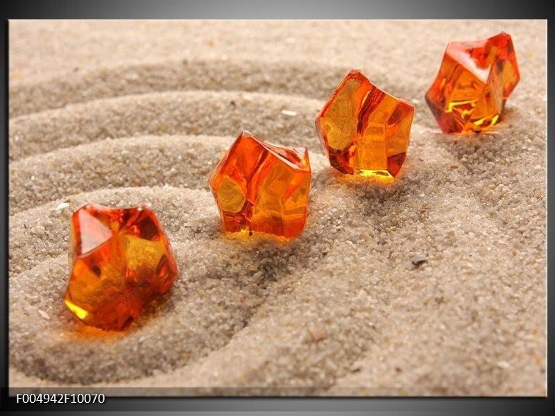 Glas schilderij Zand | Bruin, Geel, Oranje