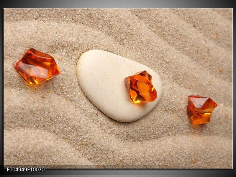 Glas schilderij Spa | Oranje, Crème , Wit