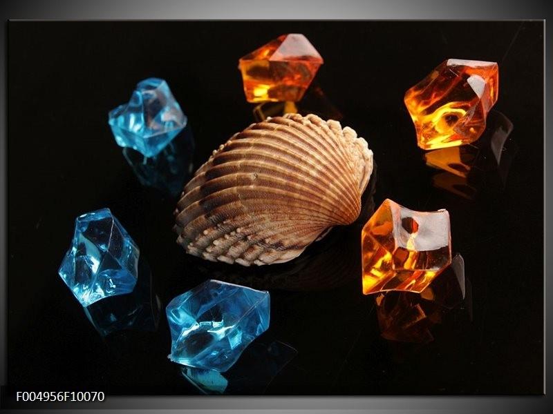 Glas schilderij Spa   Oranje, Blauw, Bruin