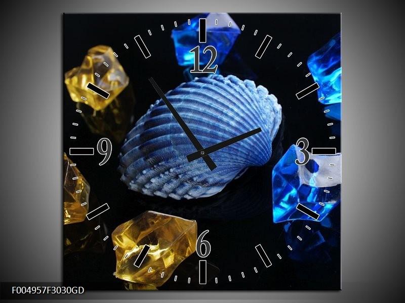 Wandklok op Glas Spa | Kleur: Blauw, Geel, Zwart | F004957CGD
