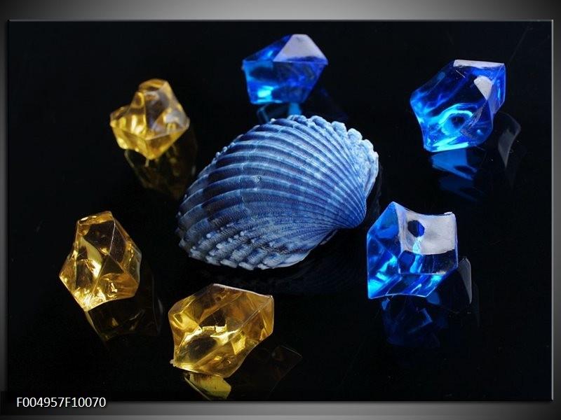 Glas schilderij Spa | Blauw, Geel, Zwart