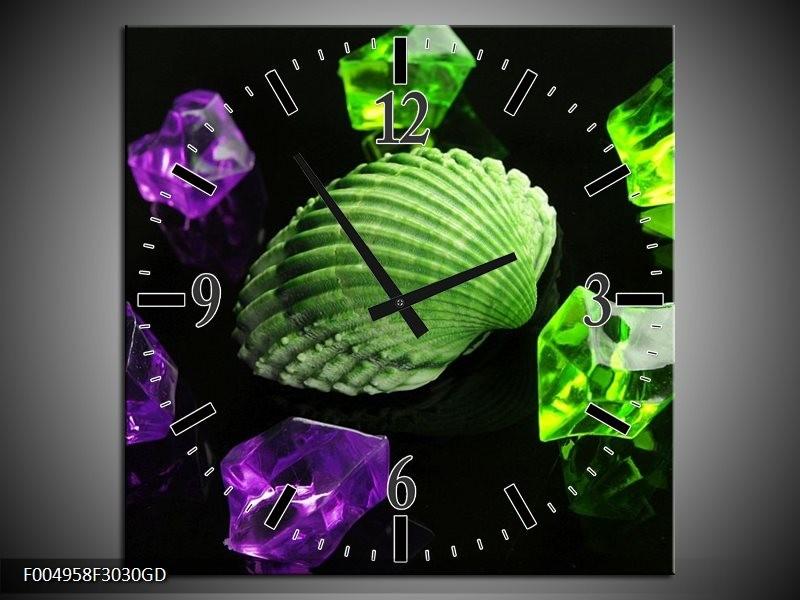 Wandklok op Glas Spa | Kleur: Groen, Paars, Zwart | F004958CGD
