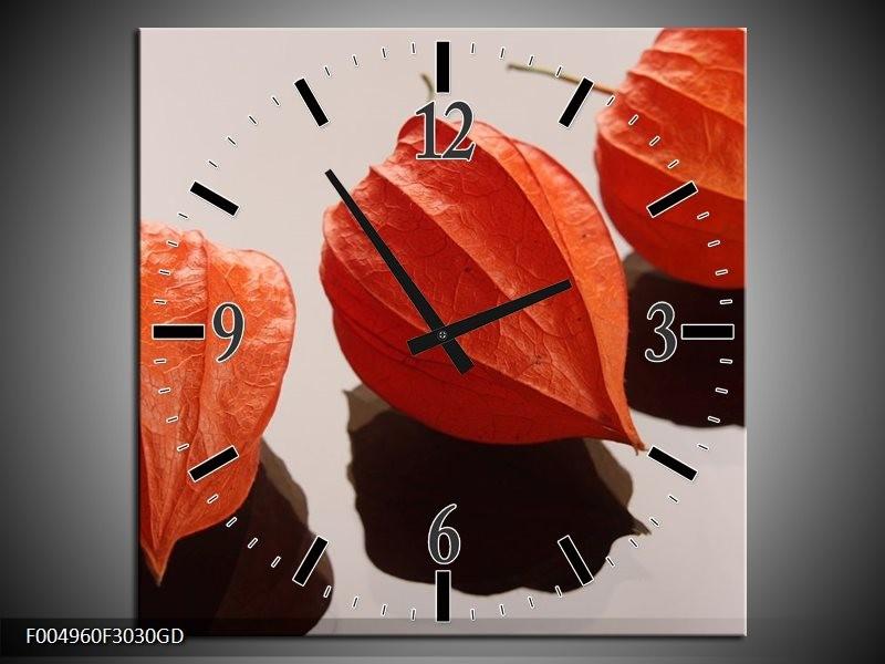Wandklok op Glas Spa | Kleur: Oranje, Grijs, Bruin | F004960CGD