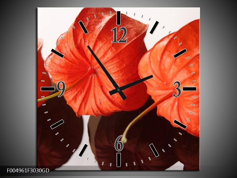 Wandklok op Glas Keuken   Kleur: Oranje, Wit   F004961CGD