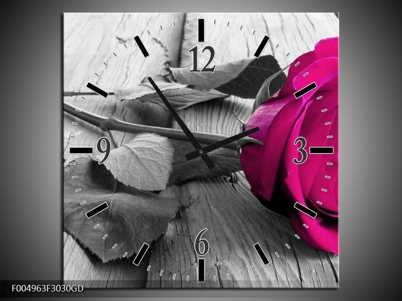 Wandklok op Glas Roos | Kleur: Roze, Grijs | F004963CGD