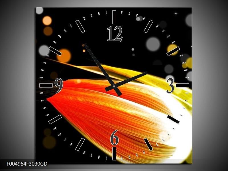 Wandklok op Glas Tulp | Kleur: Oranje, Zwart | F004964CGD
