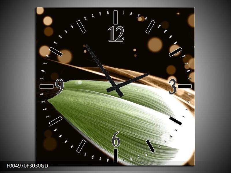 Wandklok op Glas Tulp   Kleur: Groen, Bruin, Zwart   F004970CGD