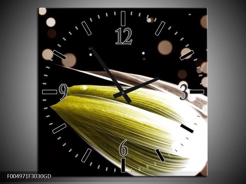 Wandklok op Glas Tulp | Kleur: Geel, Zwart | F004971CGD