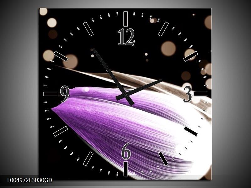 Wandklok op Glas Tulp | Kleur: Paars, Zwart | F004972CGD