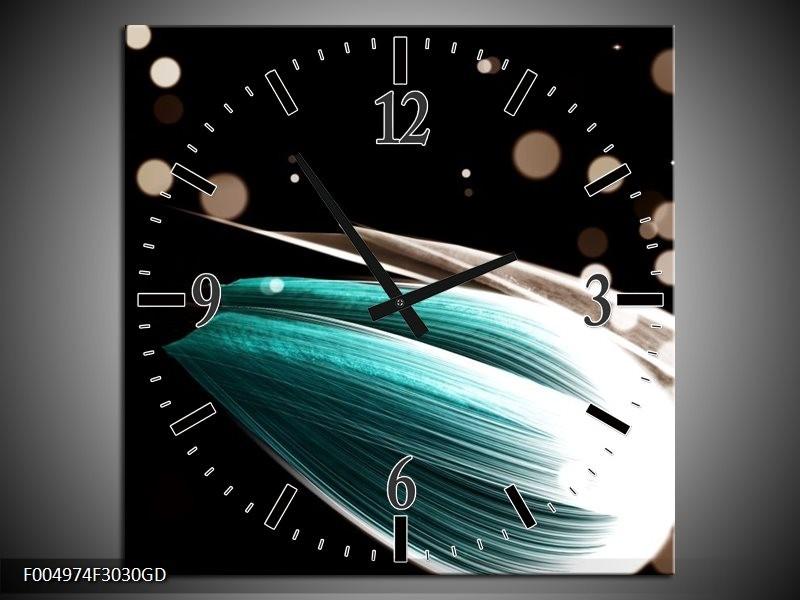 Wandklok op Glas Tulp | Kleur: Blauw, Zwart | F004974CGD