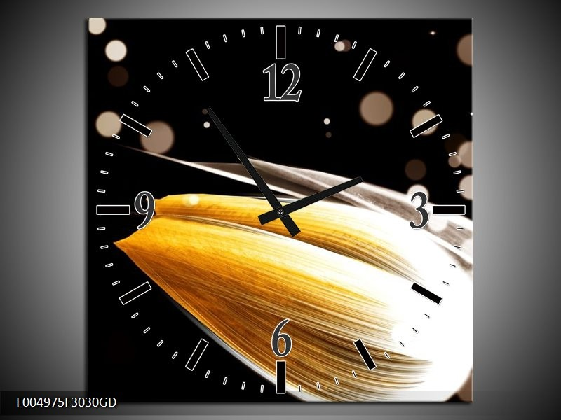 Wandklok op Glas Tulp | Kleur: Oranje, Zwart | F004975CGD