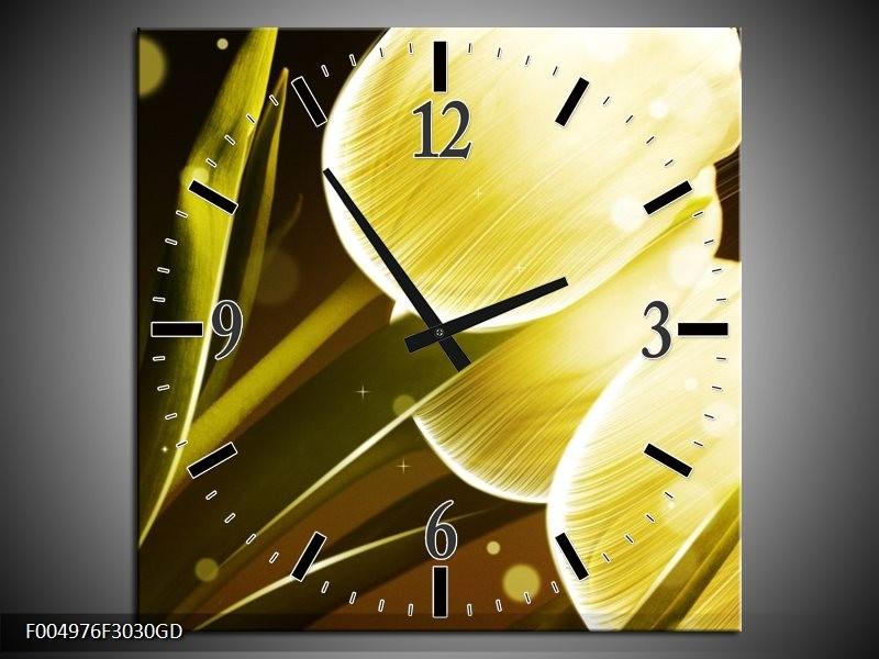 Wandklok op Glas Tulp | Kleur: Geel, Bruin | F004976CGD