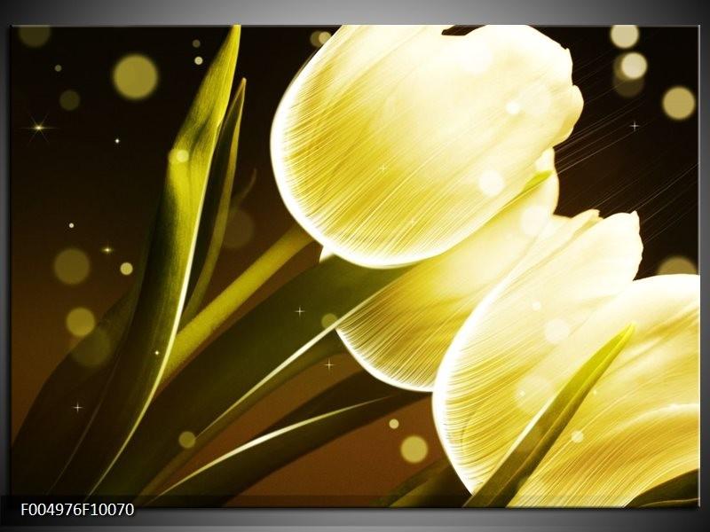 Glas schilderij Tulp   Geel, Bruin