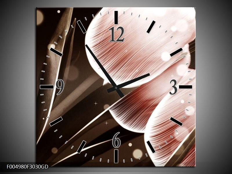 Wandklok op Glas Tulp | Kleur: Bruin, Zwart | F004980CGD
