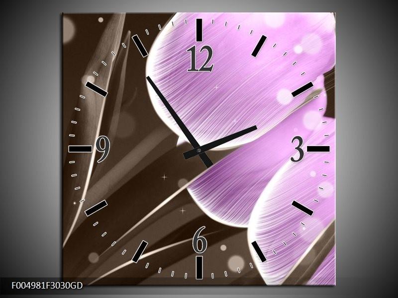 Wandklok op Glas Tulp | Kleur: Paars, Grijs | F004981CGD