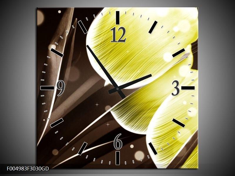 Wandklok op Glas Tulp | Kleur: Geel, Bruin | F004983CGD