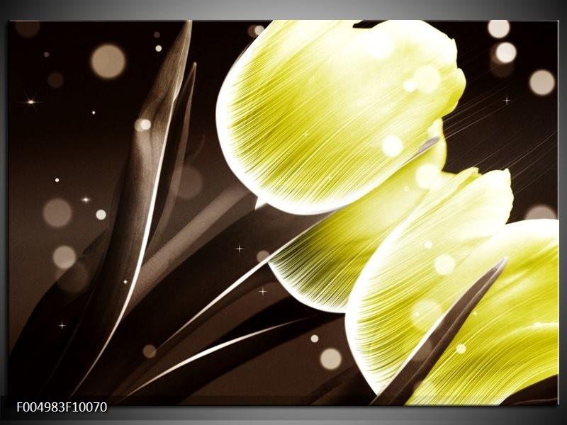 Glas schilderij Tulp | Geel, Bruin