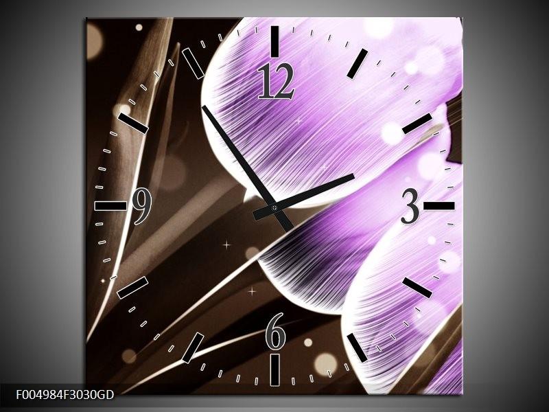 Wandklok op Glas Tulp | Kleur: Paars, Bruin | F004984CGD