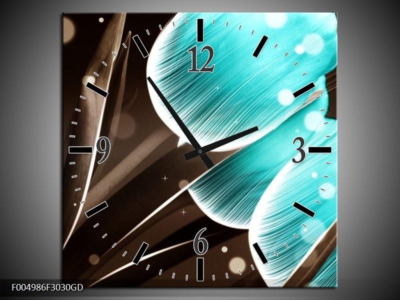 Wandklok op Glas Tulp | Kleur: Blauw, Grijs | F004986CGD