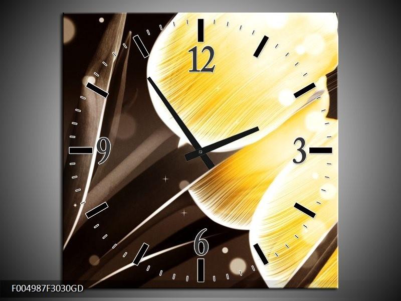 Wandklok op Glas Tulp | Kleur: Geel, Bruin | F004987CGD