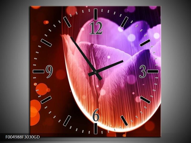 Wandklok op Glas Tulp | Kleur: Paars, Rood | F004988CGD