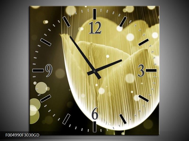 Wandklok op Glas Tulp | Kleur: Geel, Grijs, Oranje | F004990CGD