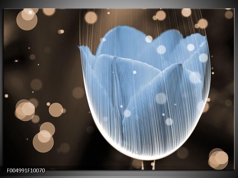 Glas schilderij Tulp | Blauw, Grijs