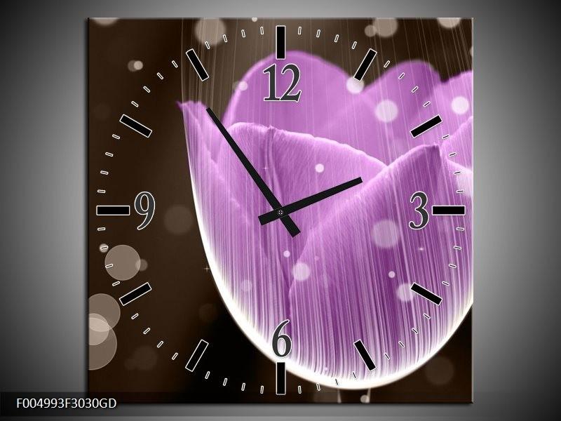 Wandklok op Glas Tulp | Kleur: Paars, Bruin | F004993CGD