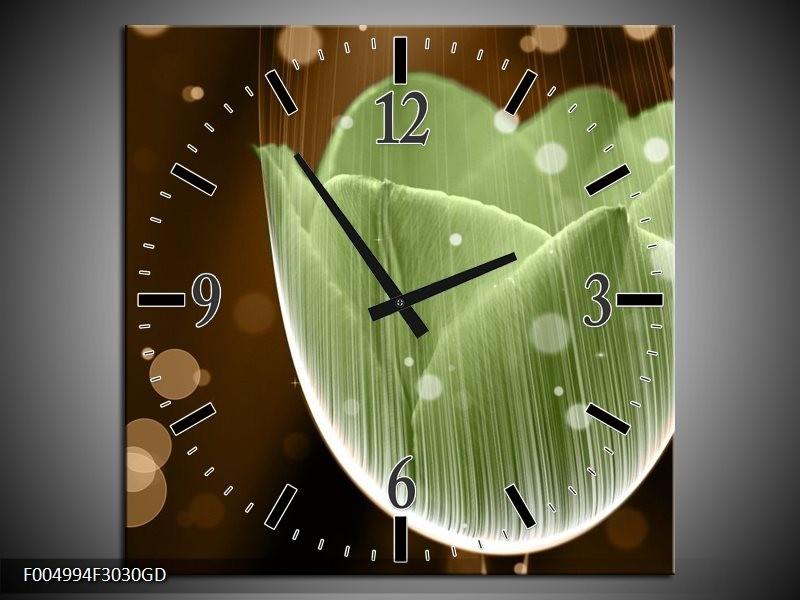 Wandklok op Glas Tulp | Kleur: Groen, Bruin | F004994CGD