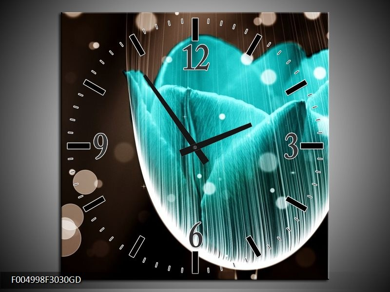 Wandklok op Glas Tulp | Kleur: Blauw, Zwart | F004998CGD