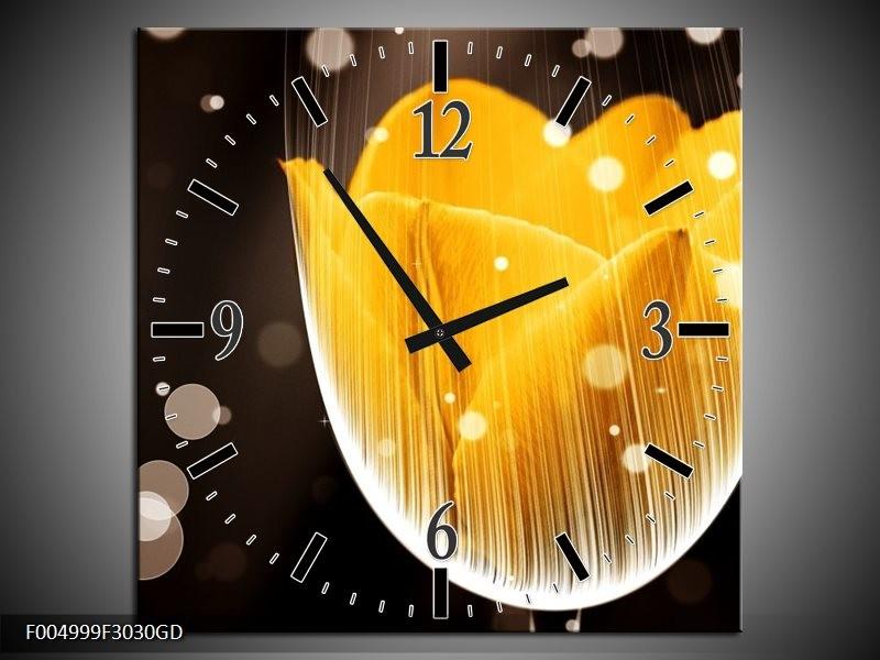Wandklok op Glas Tulp | Kleur: Geel, Bruin | F004999CGD