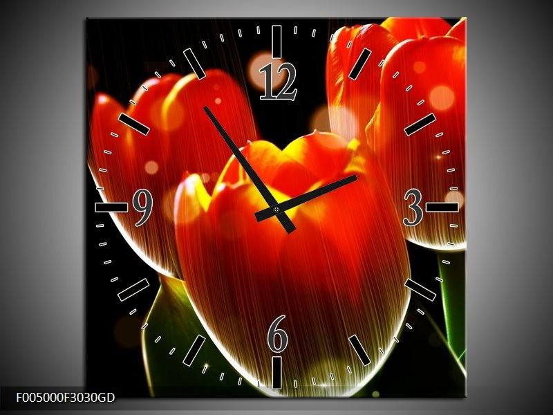 Wandklok op Glas Tulp | Kleur: Oranje, Geel, Rood | F005000CGD
