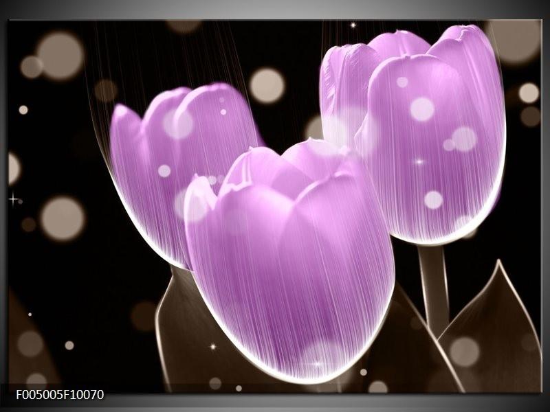 Glas schilderij Tulp | Paars, Zwart