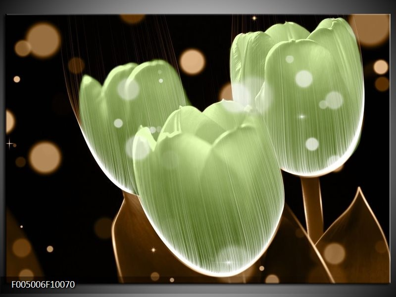 Glas schilderij Tulp | Groen, Zwart
