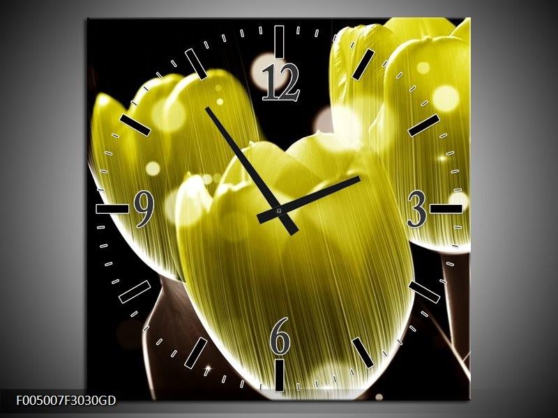 Wandklok op Glas Tulp | Kleur: Geel, Zwart | F005007CGD