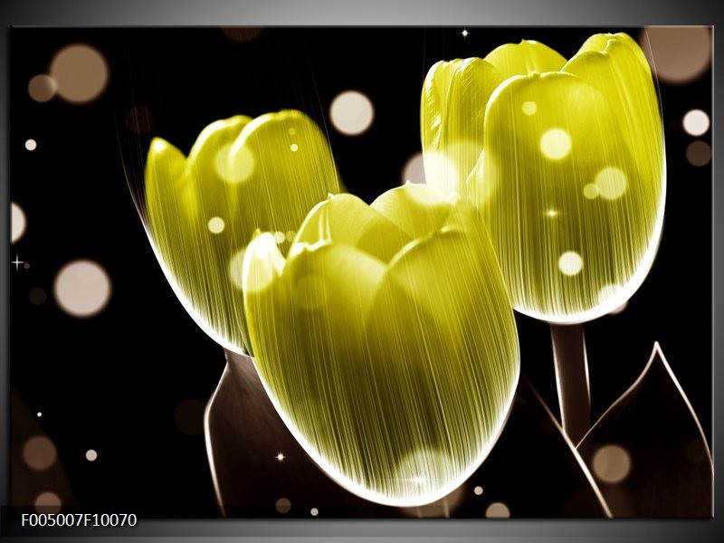 Glas schilderij Tulp | Geel, Zwart
