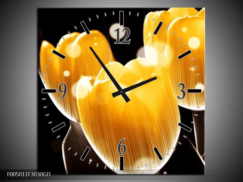 Wandklok op Glas Tulp | Kleur: Geel, Zwart | F005011CGD