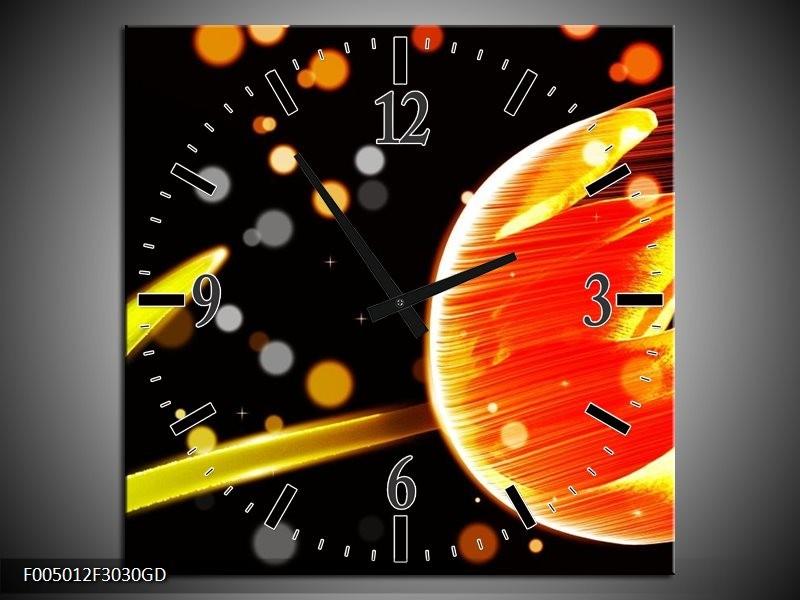 Wandklok op Glas Tulp | Kleur: Oranje, Zwart | F005012CGD