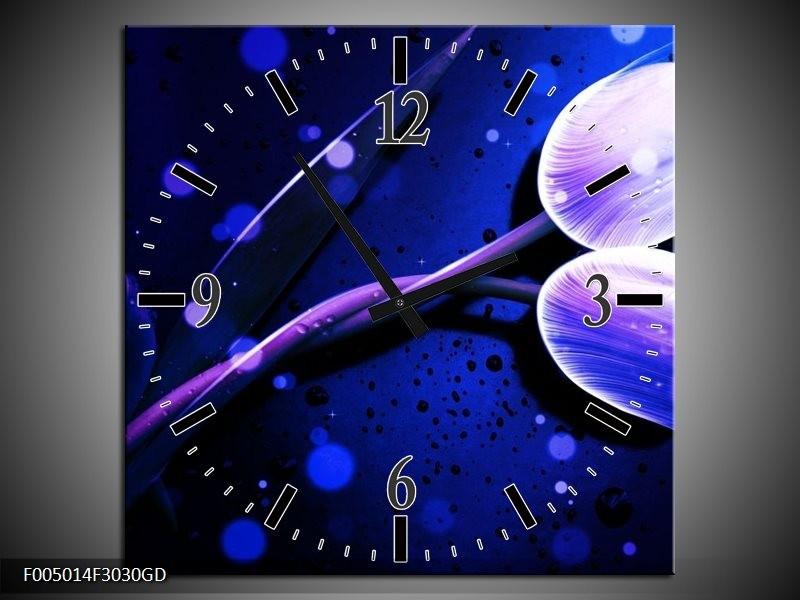 Wandklok op Glas Tulp | Kleur: Blauw, Paars, Wit | F005014CGD